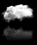 Single white fluffy cloud with its reflection flying over black Royalty Free Stock Photo