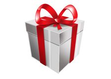 Single white gift box with red ribbon Royalty Free Stock Photos