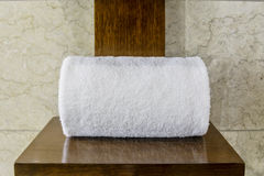 SIngle White Hotel Towel Stock Photos