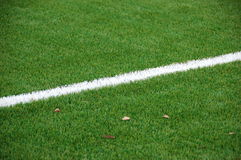 Single white line. On a football field Royalty Free Stock Photography