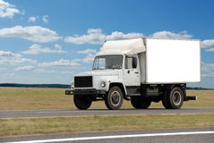 Single white middle truck Royalty Free Stock Photos