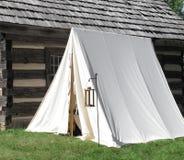 Single White Vintage Military Tent Royalty Free Stock Photos