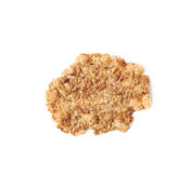 Single wholegrain cereal flake isolated. Over the white background Royalty Free Stock Images