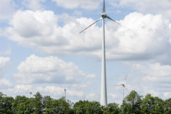 Single wind engine with four more in background. Renewable energy source wind power on a field in Marchfeld, Lower Austria, Austria Stock Photography