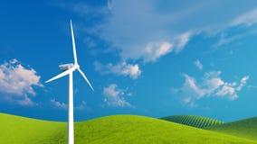 Single wind turbine against blue sky Stock Photos