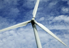 SINGLE WIND TURBINE WITH BLUE SKY. AND CLOUDS Stock Images