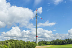 Single wind turbine in the field in rural area in Bavaria Royalty Free Stock Photo