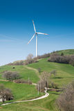 Single wind turbine. On the hill Royalty Free Stock Images