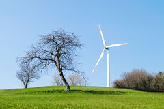 Single wind turbine Stock Photo
