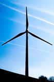 Single wind turbine. On the hill produces green clean energy Royalty Free Stock Image