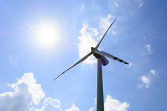 Single wind turbine propeller Stock Image