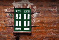 Single window in a brick wall Royalty Free Stock Images