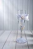 Single wineglass wedding ornated Royalty Free Stock Photo