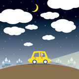 Single Woman Drive A Car In The Night Royalty Free Stock Image