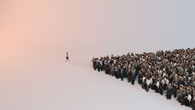 Single woman leading group of people 3d illustration. Inside a studio Royalty Free Stock Photography