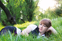 Single woman relaxing outdoor Royalty Free Stock Image