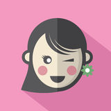 Single Woman's Face Flat Design Icon Royalty Free Stock Photo