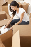 Single Woman Unpacking Boxes Moving House. A beautiful single young woman unpacking boxes and moving into a new home royalty free stock images