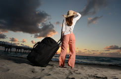 Single woman on vacation at beach Royalty Free Stock Images