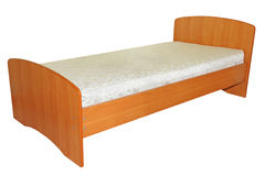 Single wooden bed.. Stock Photos