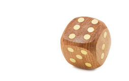 Single wooden dice, isolated on white Stock Images