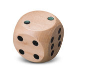 Single wooden Dice on white background Royalty Free Stock Images