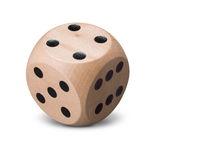 Single wooden Dice on white background Stock Image
