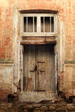 Single Wooden Door. In Old City Wall Stock Image