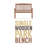 Single Wooden Park Bench On White Background Royalty Free Stock Images