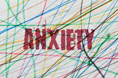 Single word Anxiety. Word Anxiety written on colorful abstract background Stock Photos
