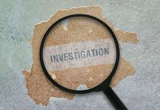 Single word Investigation. Word Investigation written under a magnifying glass on grunge background royalty free stock images