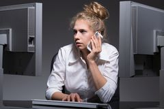 Single workaholic woman. Has lots of work stock photos