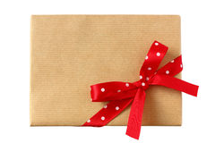 Single wrapped present with polka dots bow Royalty Free Stock Photos