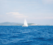 Single yacht in Adriatic. Regatta, sailing, traveling, concept. Royalty Free Stock Photography