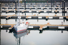 Single yacht in harbor of Laredo, Royalty Free Stock Image