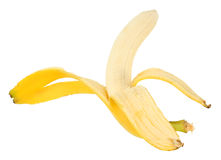 Single yellow banana and peel Royalty Free Stock Image