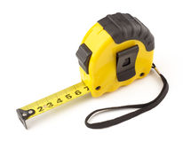 Single yellow and black tape measure Stock Photography