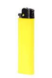 Classic lighter. Single yellow classic lighter. Isolated on white background. Studio photography Royalty Free Stock Photography