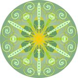 Single yellow green mandala Stock Photography