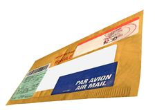 Single yellow mail package (envelope, cn22 form) Royalty Free Stock Photos