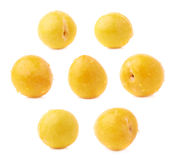 Single yellow mirabelle plum isolated Stock Photo