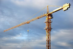 Single yellow tower crane loader Stock Photography