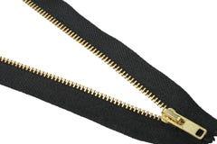 Single zip-fastener. Isolated on white background. Close-up. Studio photography stock photo