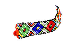 Single Zulu Beaded Bracelet in Bright Colors Royalty Free Stock Photography