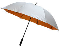 Singlelayer Golf umbrella. Side of duotone(silver+orange) singlelayer golf umbrella, isolated on white Royalty Free Stock Photos