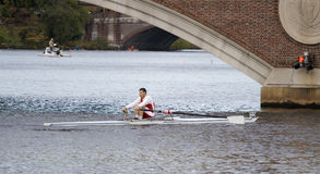 Singles 50+ in Charles Regatta - Racer Mark Fagan. This is Boston, Ma 10 18 2008 Grand-Master Singles 50+ in Charles Regatta - Racer Mark Fagan Royalty Free Stock Photo
