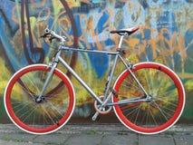 Singlespeed bike. Bike in front of graphitti wall Royalty Free Stock Image