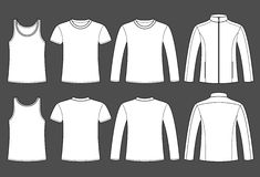 Singlet, T-shirt, Long-sleeved T-shirt and Jacket template. Front and back on dark background Stock Photography