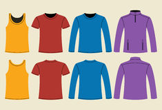 Singlet, T-shirt, Long-sleeved T-shirt and Jacket template. Front and back on light background Royalty Free Stock Image