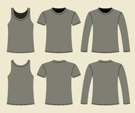 Singlet, T-shirt and Long-sleeved T-shirt template Stock Photography